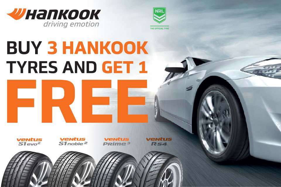 Buy 3 Get 1 Free with Hankook and Tyreright