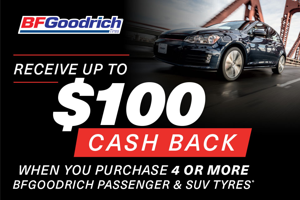 BFGoodrich Receive up to $100 cash back
