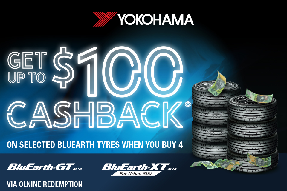 Up to $100 gift card when you buy 4 selected Yokohama tyres