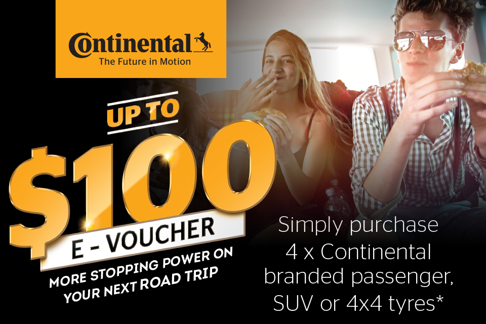 Up to $100 e-voucher on Continental passenger, SUV or 4x4 tyres