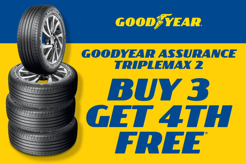 Buy 3 get 1 free on Goodyear Assurance Triplemax2 tyres