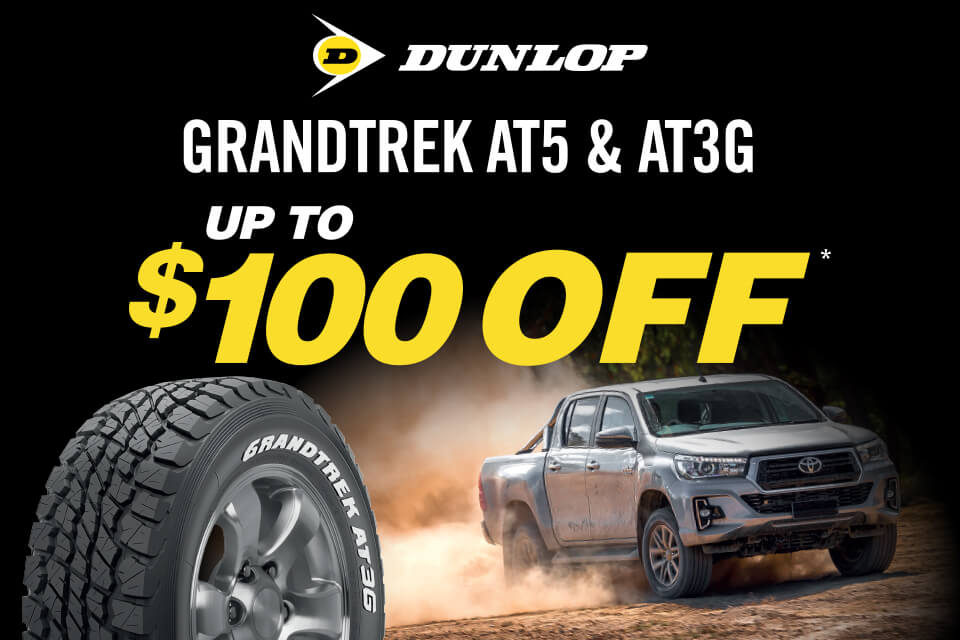 Up to $100 off on Dunlop Grandtrek AT5 and AT3G tyres!