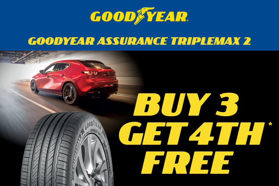 Buy 3 and get the 4th tyre free on Goodyear Assurance Triplemax2 tyres!